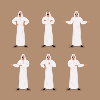 Arab handsome bearded businessman in traditional formal clothes in different poses.