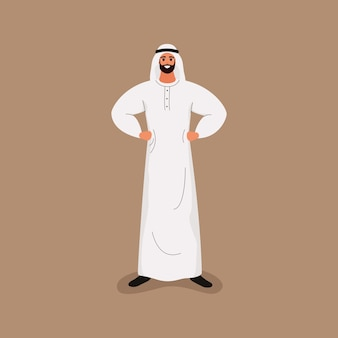 Arab handsome bearded man in traditional white clothes in friendly pose. in cartoon style Premium Vector