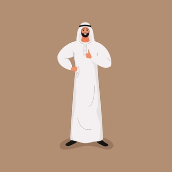 Arab handsome bearded man in traditional white clothes shows thumb up Premium Vector