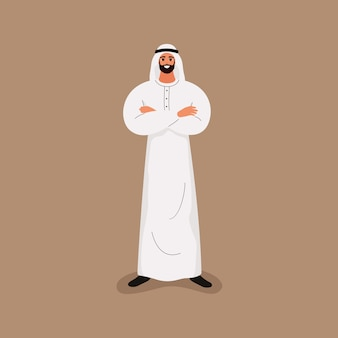 Arab handsome bearded man in traditional white clothes standing with crossed arms.