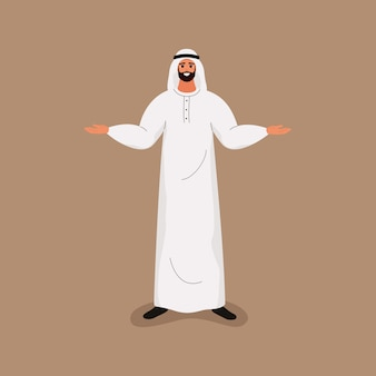 Arab handsome bearded man in traditional white clothes standing with open arms.