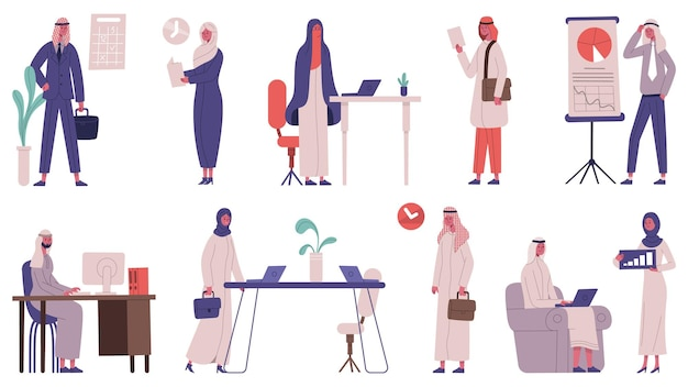 Arab islamic office team business people characters. male and female business partners vector illustration set. saudi business meeting persons