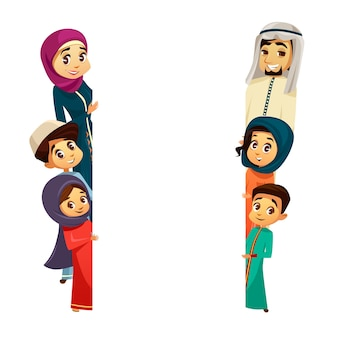 Arab khaliji family characters peeping from behind empty blank space