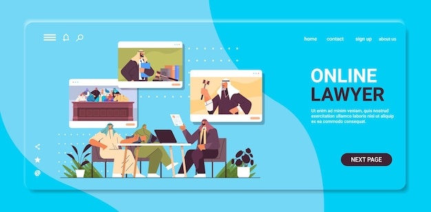 Арабский юрист или судья консультируется, обсуждая с клиентами во время встречи закон и юридические консультации, концепция онлайн-консультации горизонтальная копия пространства векторная иллюстрация Premium векторы