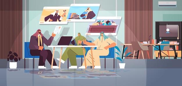 Арабский адвокат или судья консультируется, обсуждая с клиентами во время встречи закон и юридические консультации, концепция онлайн-консультации горизонтальная векторная иллюстрация