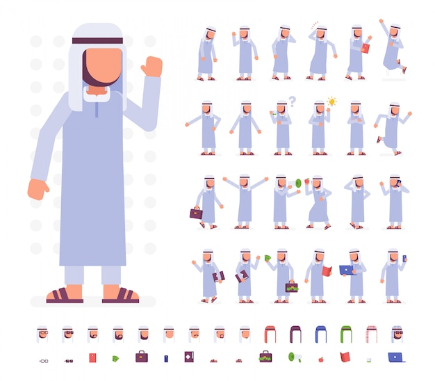 Arab man character set. flat vector illustration. isolated