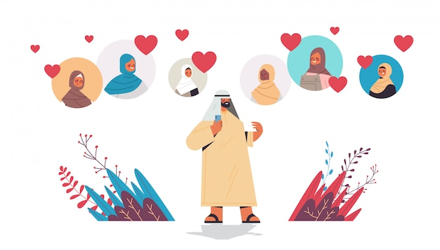 Арабский мужчина в чате с арабскими женщинами в онлайн знакомства приложение виртуальная встреча социальные отношения общение найти любовь концепция горизонтальный полная длина иллюстрация