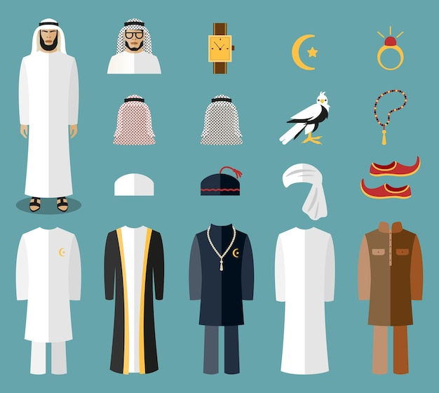 Arab man clothes and accessories. arab cloth, traditional cloth, arabic islam cloth. vector illustration