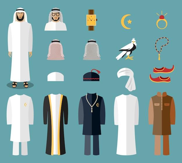アラブ人の服やアクセサリー。アラブの布、伝統的な布、アラビアのイスラムの布。ベクトルイラスト