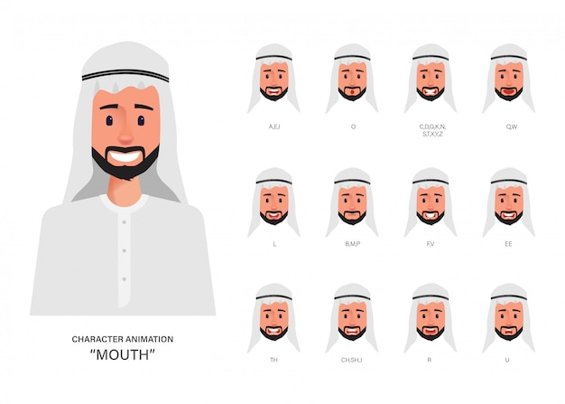 Arab man lip sync collection for mouth animation character.