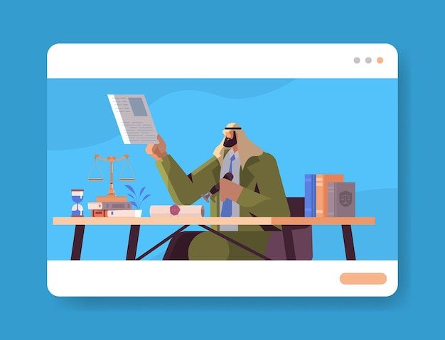 Arab man notary signing and legalization documents stamping legal document at workplace lawyer office interior portrait horizontal vector illustration