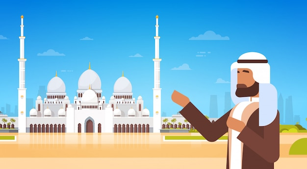 Arab man show mosque building muslim religion ramadan kareem holy month