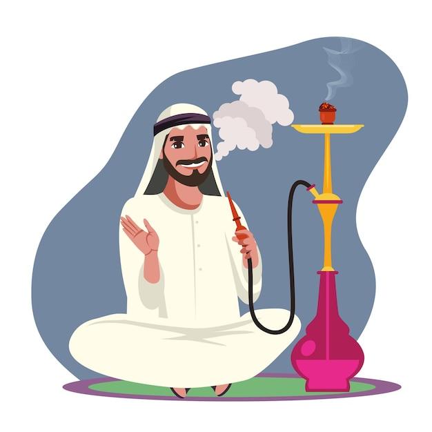 Arab man smoke hookah pipe exhale thick white smoke and sitting on floor