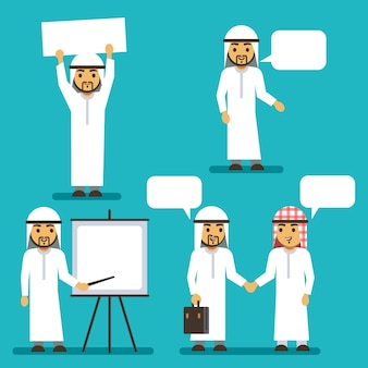 Arab man vector characters with blank banner and speech bubbles