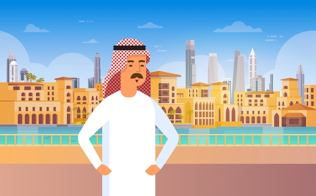 Arab man walking modern city building cityscape skyline panorama business travel and tourism concept
