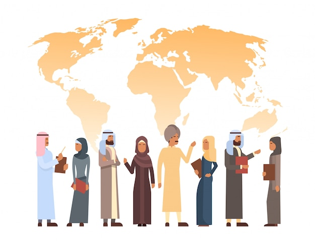 Arab man and woman group over world map, islam businessman businesswoman wearing traditional clothes