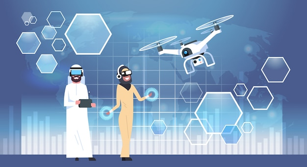 Arab man and woman wearing 3d glasses