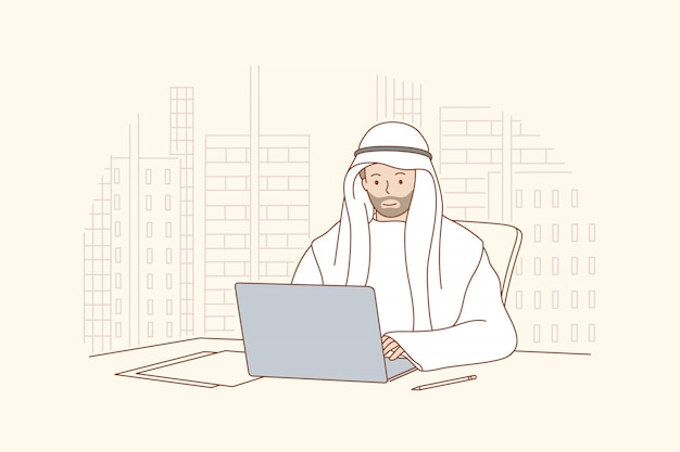 사무실 개념에서 일하는 아랍 사람.