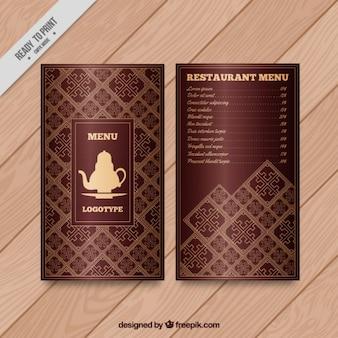 Arab menu with a teapot drawing