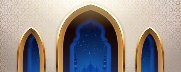 窓のあるアラブのモスクまたは夜のイスラム都市の景色を望むアラビアの教会の壁