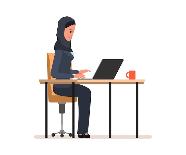 Arab or muslim administrator work character.