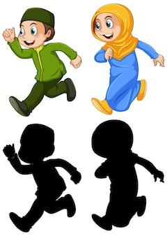 アラブのイスラム教徒の男の子と女の子の色と白い背景で隔離のシルエットで伝統的な服