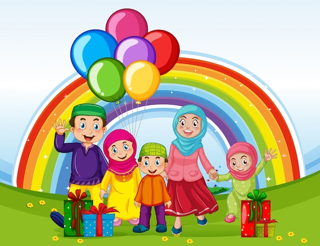 虹の背景を持つ休日に伝統的な服でアラブのイスラム教徒の家族