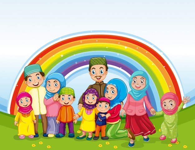 Arab muslim family in traditional clothing and rainbow background