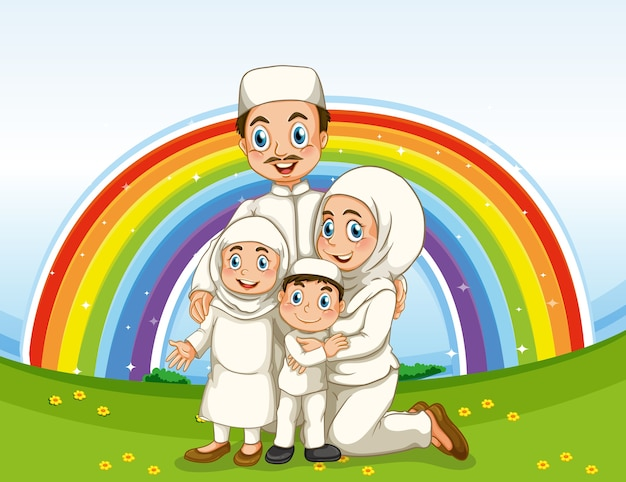 Arab muslim family in traditional clothing with rainbow