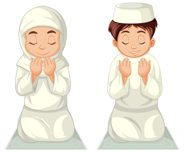 Арабские мусульманские девочка и мальчик в традиционной одежде молятся сидя, сидя на белом фоне