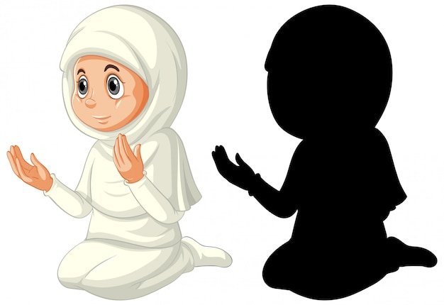 Арабская мусульманская девушка в традиционной одежде в цвете и силуэте на белом фоне
