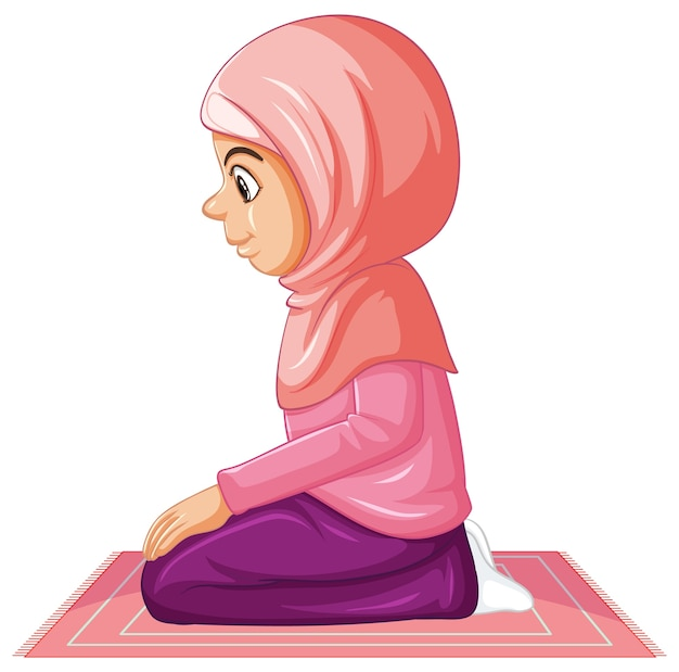 Arab muslim girl in traditional pink clothing in sitting position isolated on white background