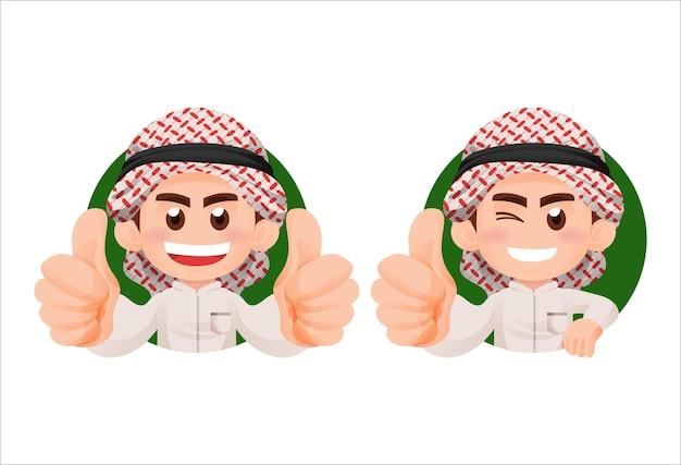 전통 옷을 입고 아랍 무슬림 아이 소년 엄지 손가락과 미소 마스코트 일러스트 컨셉