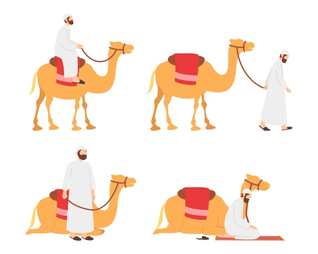 Arab muslim man riding his camel character set