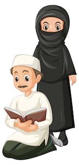 Uomo e donna musulmani arabi nella posizione dell'abbigliamento tradizionale isolata su fondo bianco