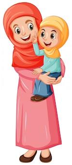 アラブのイスラム教徒のママと娘の白い背景で隔離の伝統的な服