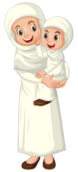 分離された伝統的な服でアラブのイスラム教徒の母と娘