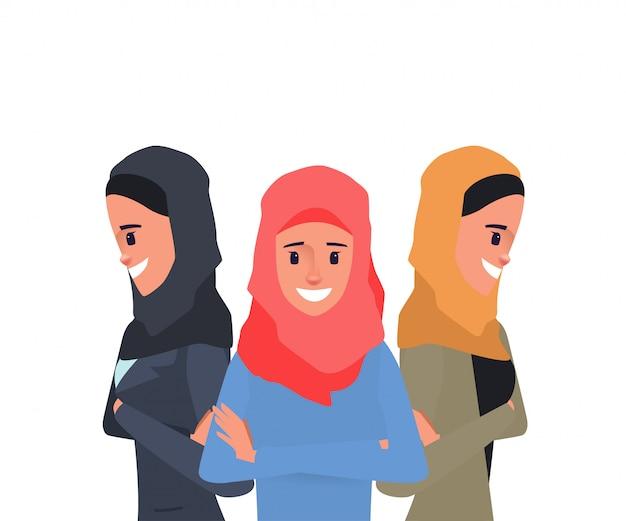 Arab or muslim show power of teamwork women character pose.