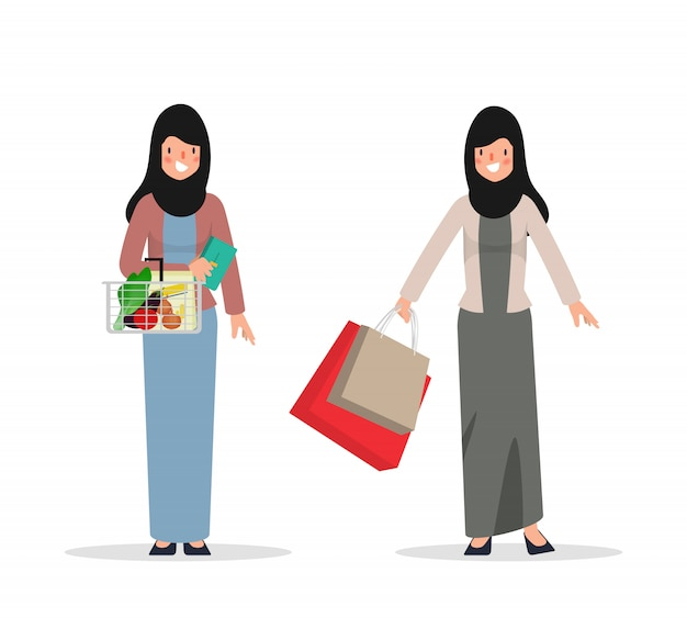 Arab or muslim woman character to shopping. people in national clothing hijab.