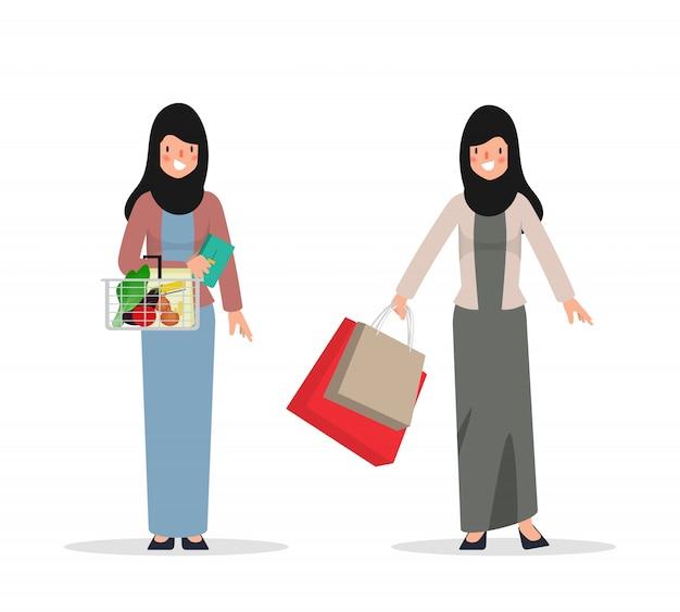 쇼핑 아랍 또는 무슬림 여성 캐릭터. 국가 의류 히잡에있는 사람들.