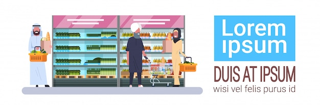 Arab people buy products grocery store horizontal banner