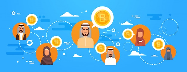 Arab people buying bitcoins over world map modern digital money network crypto currency concept
