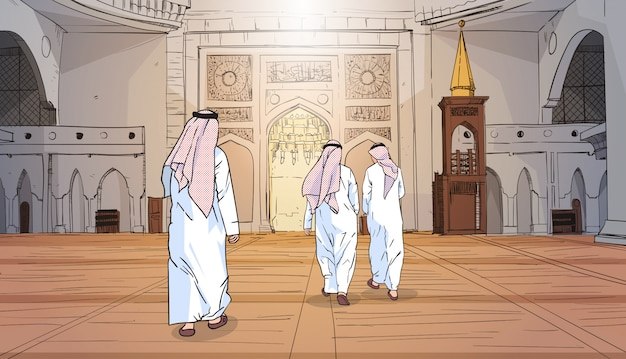 Arab people coming to mosque building muslim religion ramadan kareem holy month