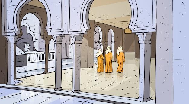 Арабский народ идет к мечети, строит мусульманскую религию рамадан карим священный месяц