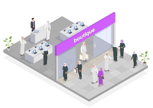 Arab people doing shopping isometric illustration
