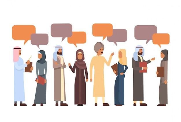 Группа арабских людей чат bubble communication concept мусульманская говорящая арабская социальная сеть