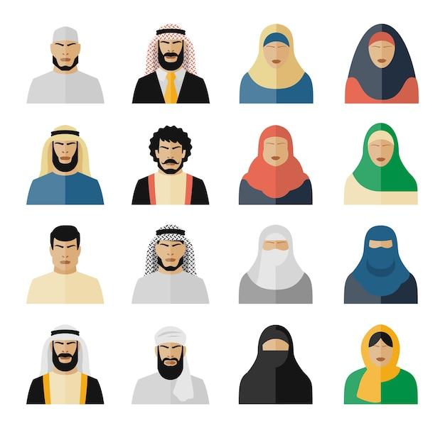 アラブ人のアイコン。イスラム教徒の人々、アラビアの人々、イスラム教の人々の女性と男性。ベクトルイラストセット