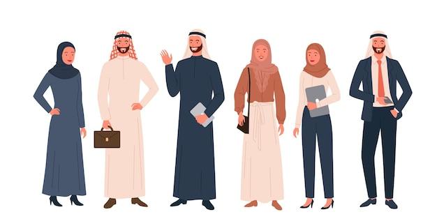 Набор иллюстраций арабских людей.