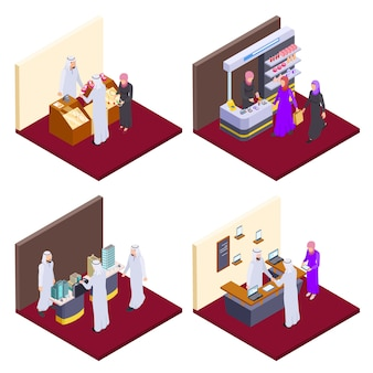 Arab  people, isometric arabs shopping  concepts