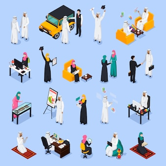 Arab people isometric set